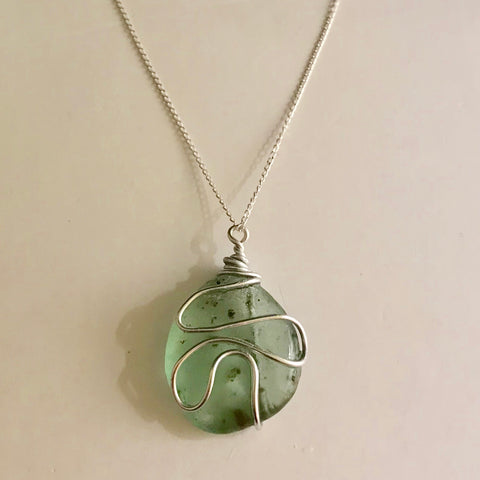 "Speckled Seaham Sea Glass - Pendant On 20"" Sterling Silver Chain"