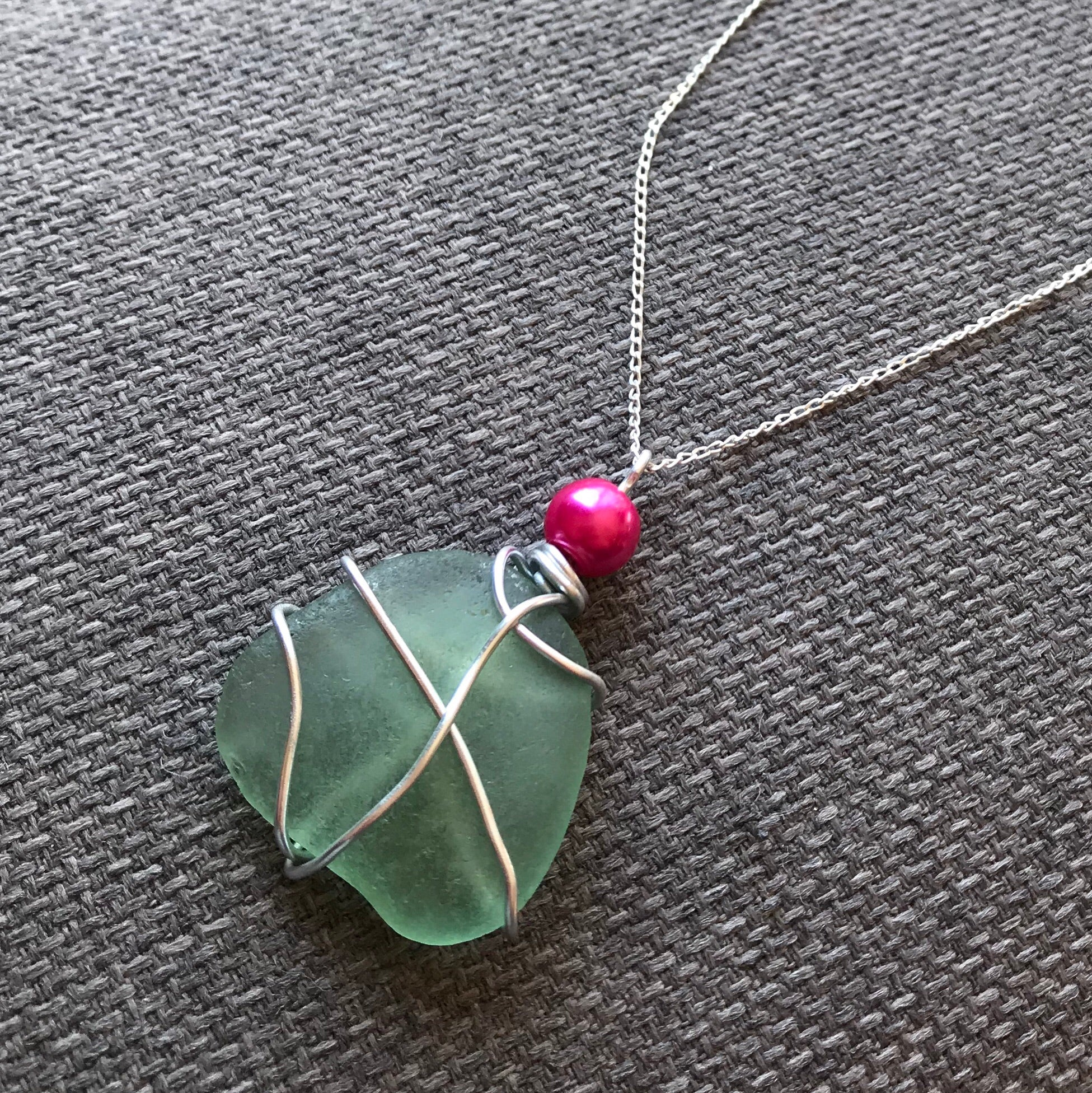 "Large Aqua Seaham Sea Glass Pendant On 20"" Sterling Silver Chain"