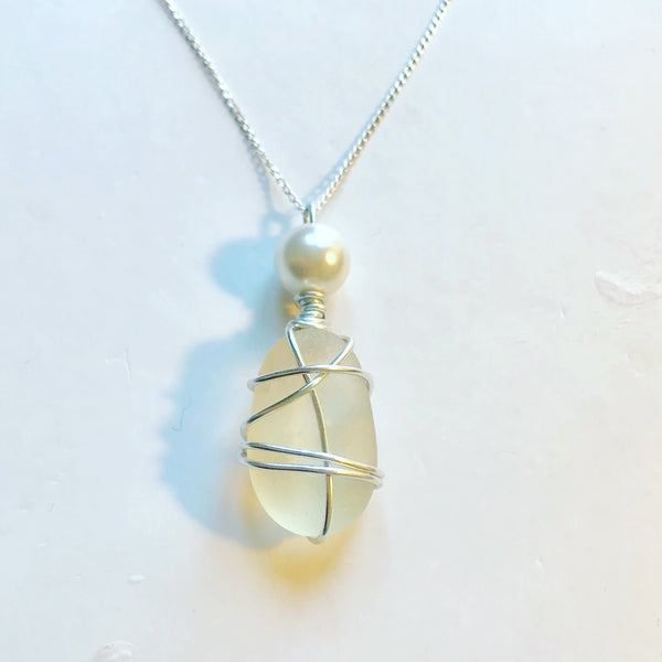 "Large White Seaham Sea Glass Pendant On 20"" Sterling Silver Chain"