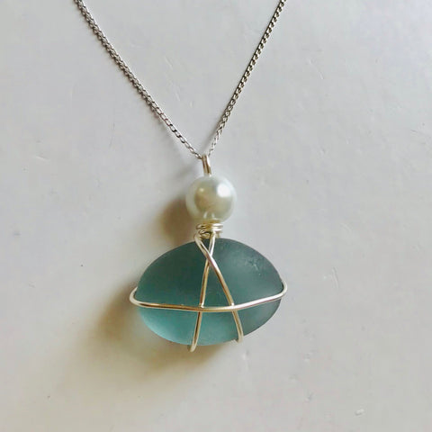 "Stunning Pale Dusky Blue Seaham Sea Glass Pendant On 20"" Sterling Silver Chain"