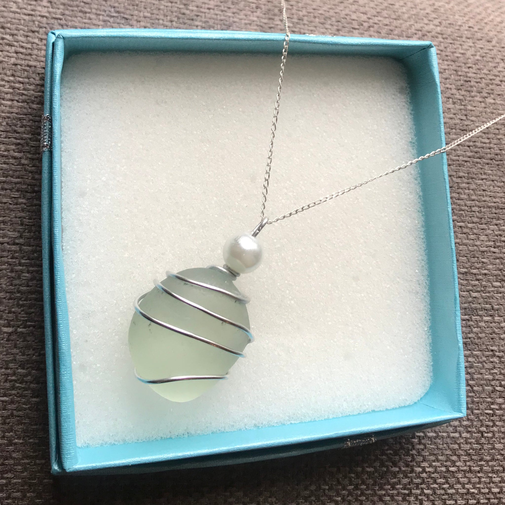 "Large Sea Glass & Pearl Pendant - On 20"" Sterling Silver Chain"