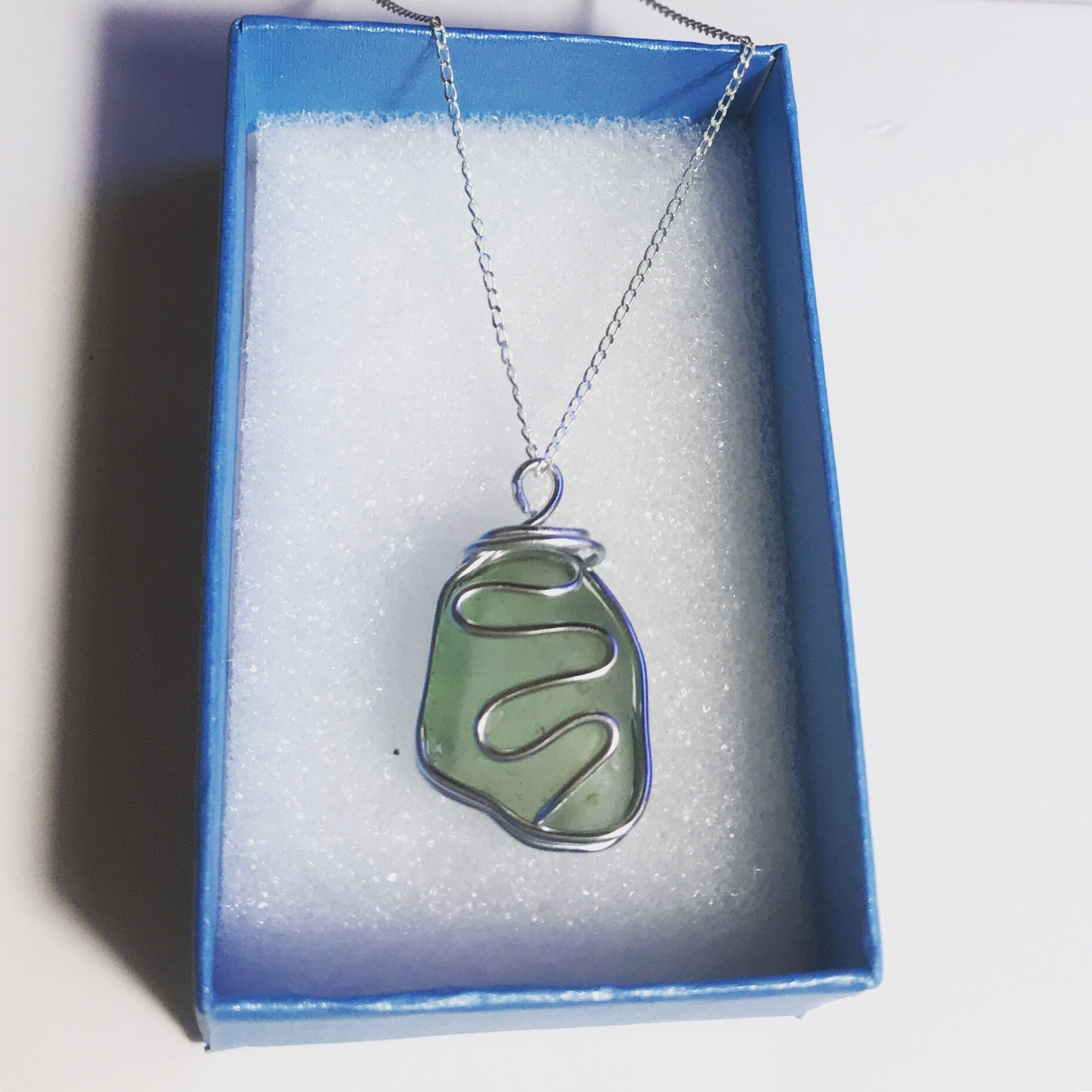 "Green Waves Sea Glass Pendant On 20""Sterling Silver Chain"