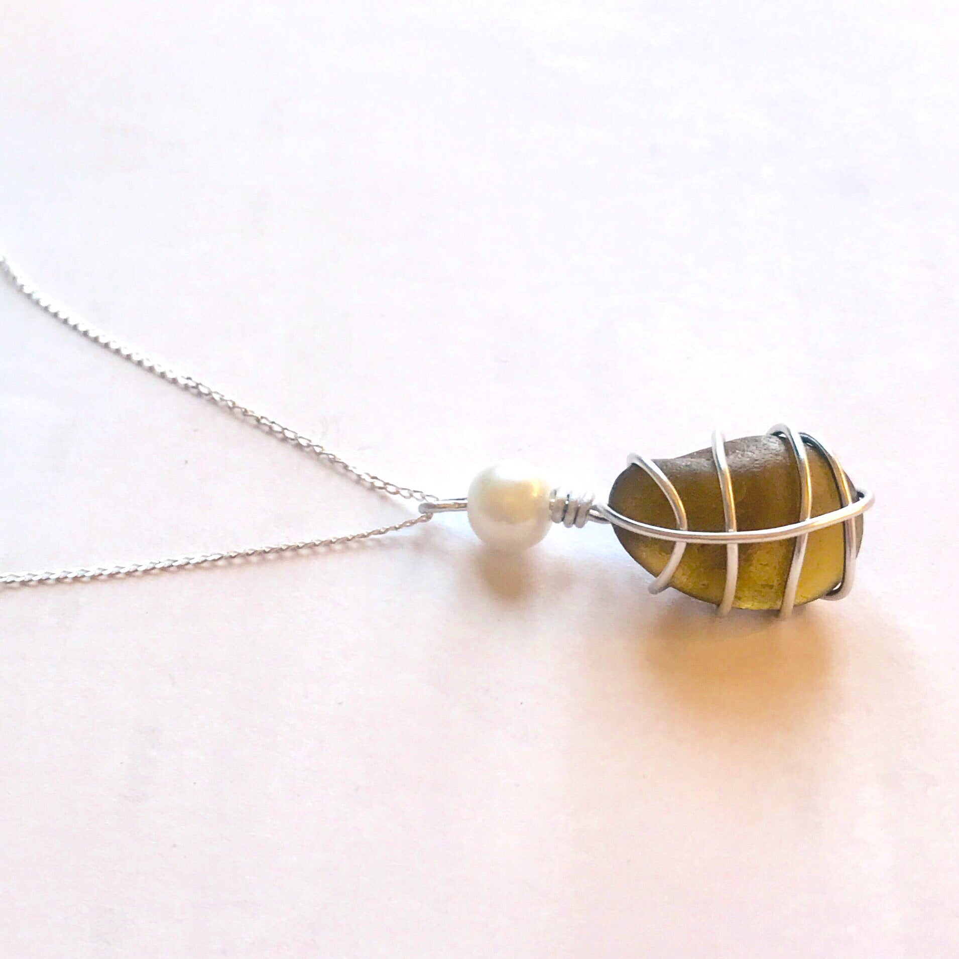 "Brown Seaham Sea Glass Pendant On 20"" Sterling Silver Chain"