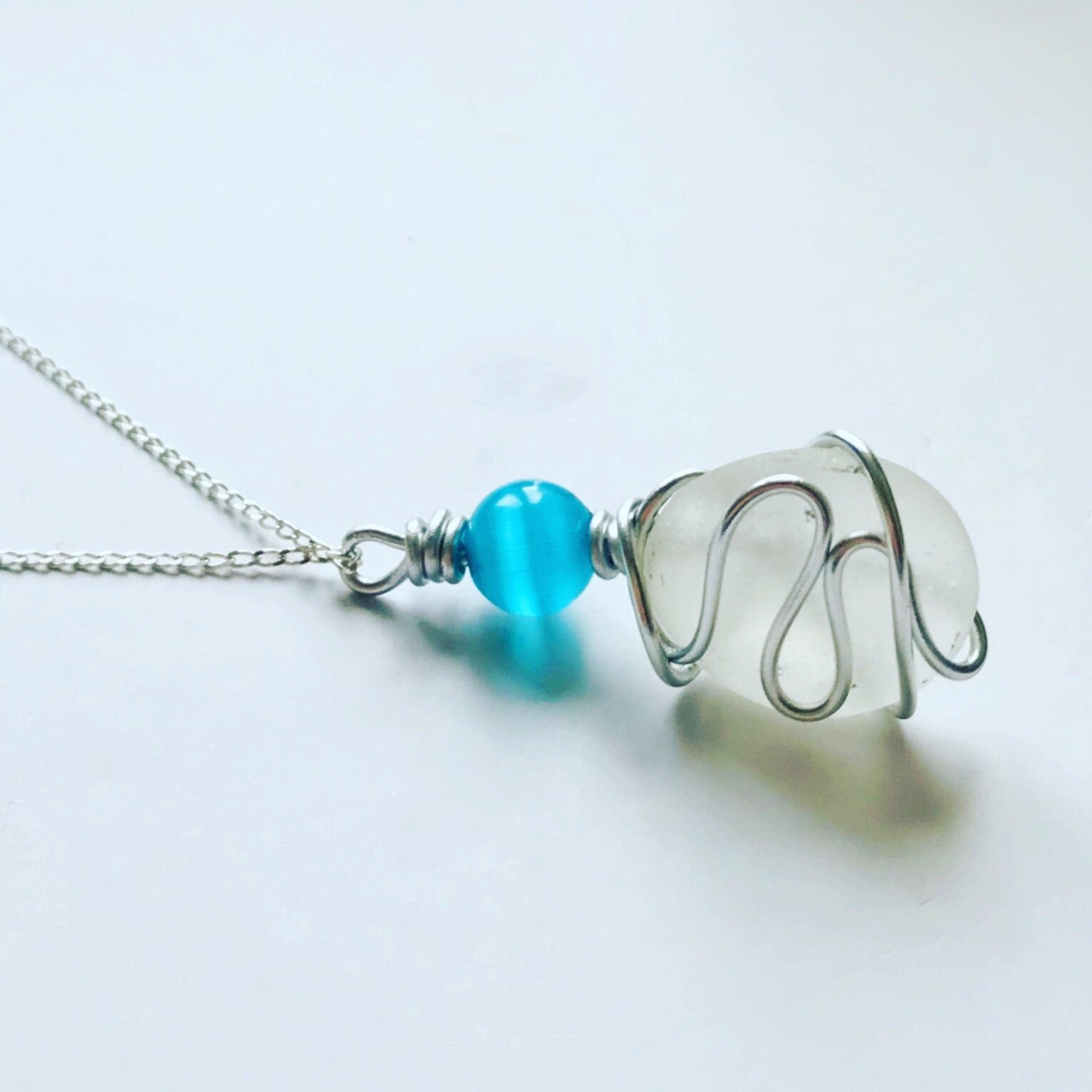 "Aqua Glass Bead with Clear White Seaham Sea Glass Wire Hugged and Set onto a 20"" Sterling Silver Chain"