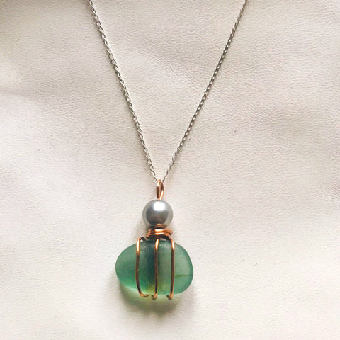 "Dusky Green Glass Pendant on 20"" Sterling Silver Chain"