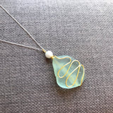 "Large Pale Green Sea Glass Pendant On 20"" Sterling Silver Chain"