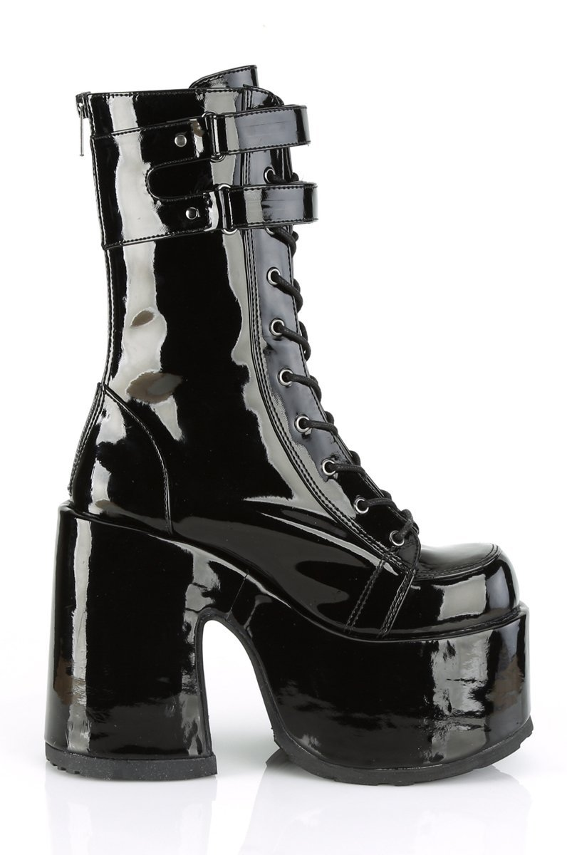 SHINE BUCKLE ANKLE PLATFORMS - BLACK - Shop Noctex