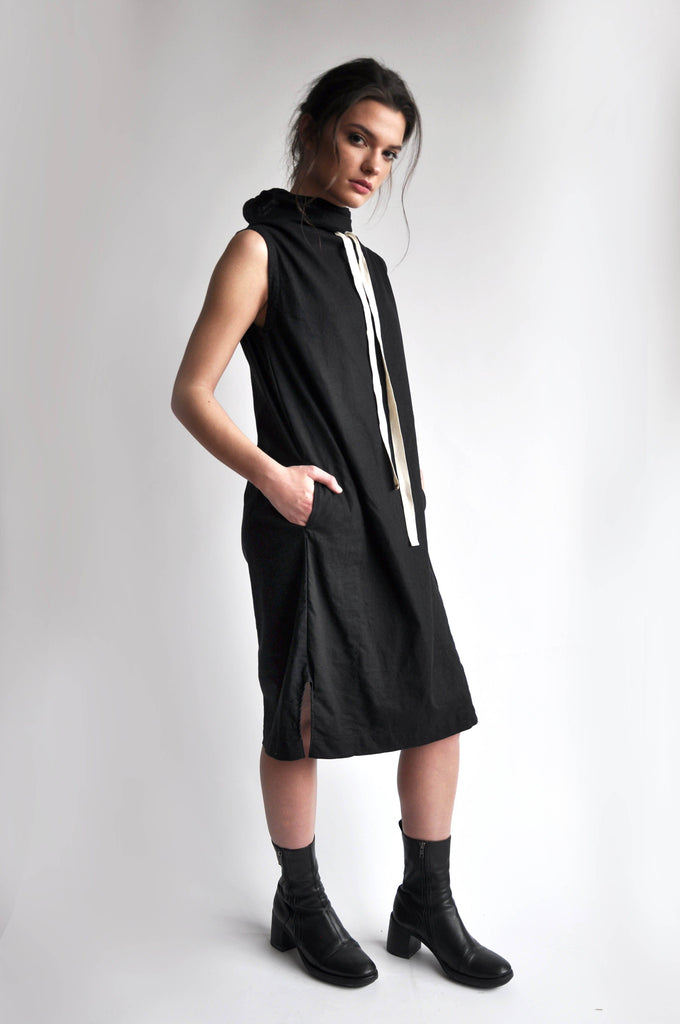 MYA LINEN DRESS - BLACK