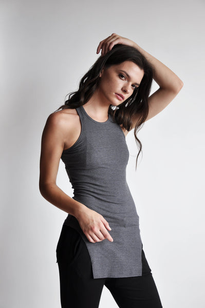Squared Hem Tank - GREY - NOCTEX - BUY NOW PAY LATER