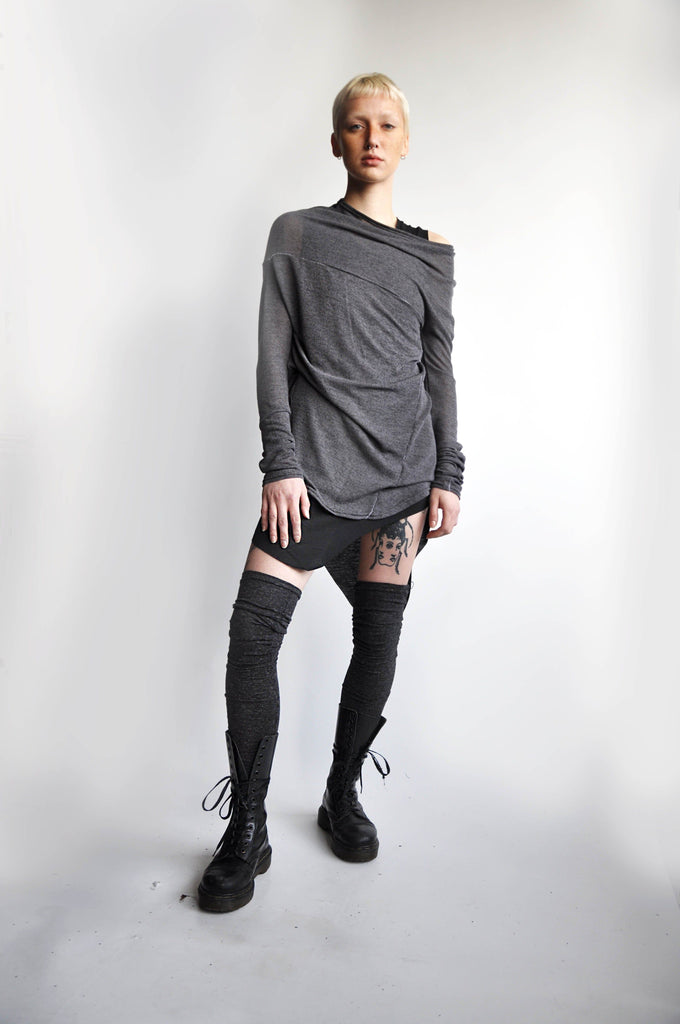 THIGH HIGH LEG WARMERS - CHARCOAL