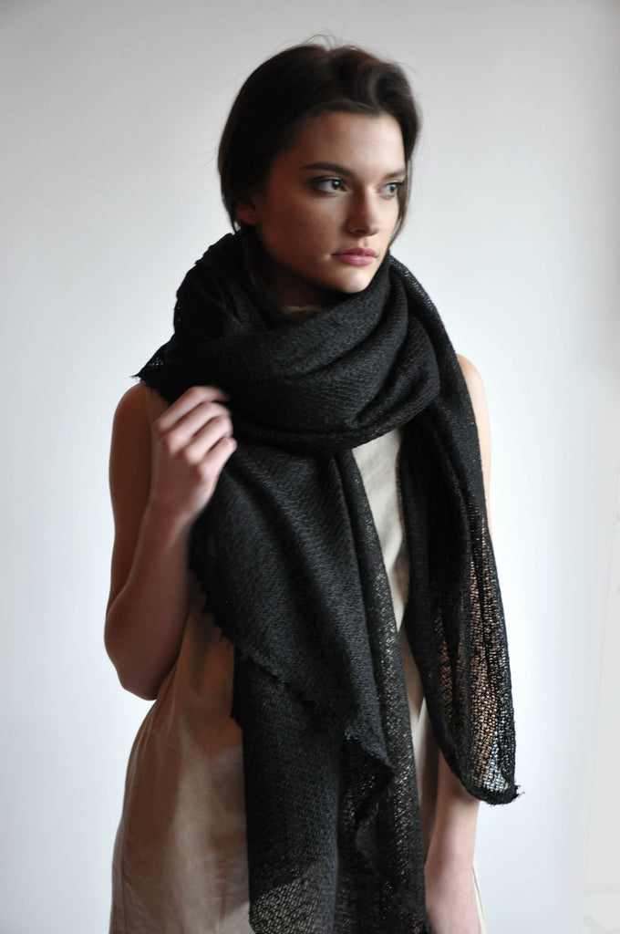 Large Textured Black Scarf