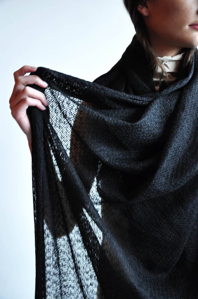 Large Textured Black Scarf (1614065139784)