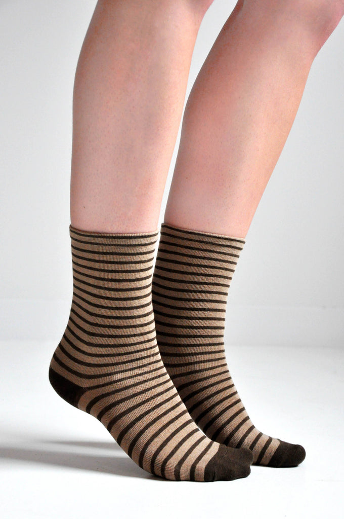 STRIPE SOCKS - COFFEE