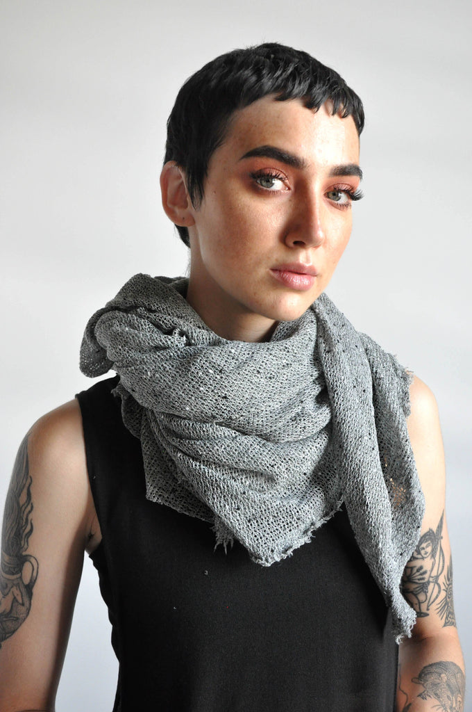 Open Knit Scarf - GREY BLEND [LIMITED] (3994633273416)