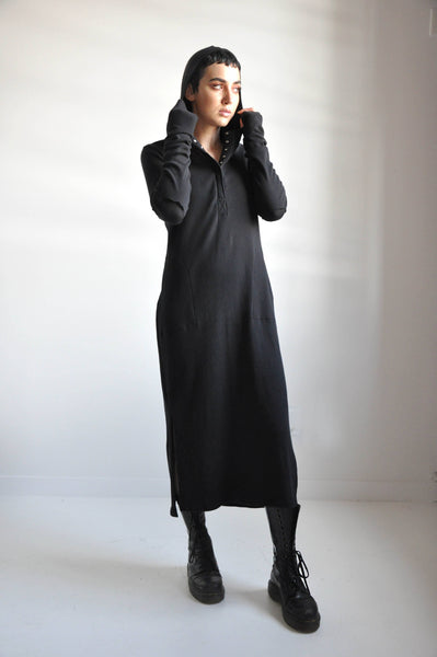 HOODED HENLEY DRESS - NOCTEX - BUY NOW PAY LATER