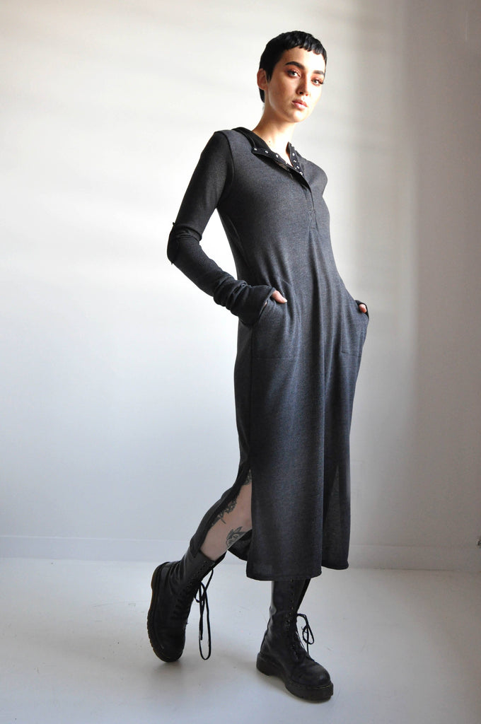 HOODED HENLEY DRESS