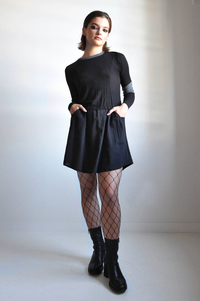 LINEN MINI SKIRT - BLACK