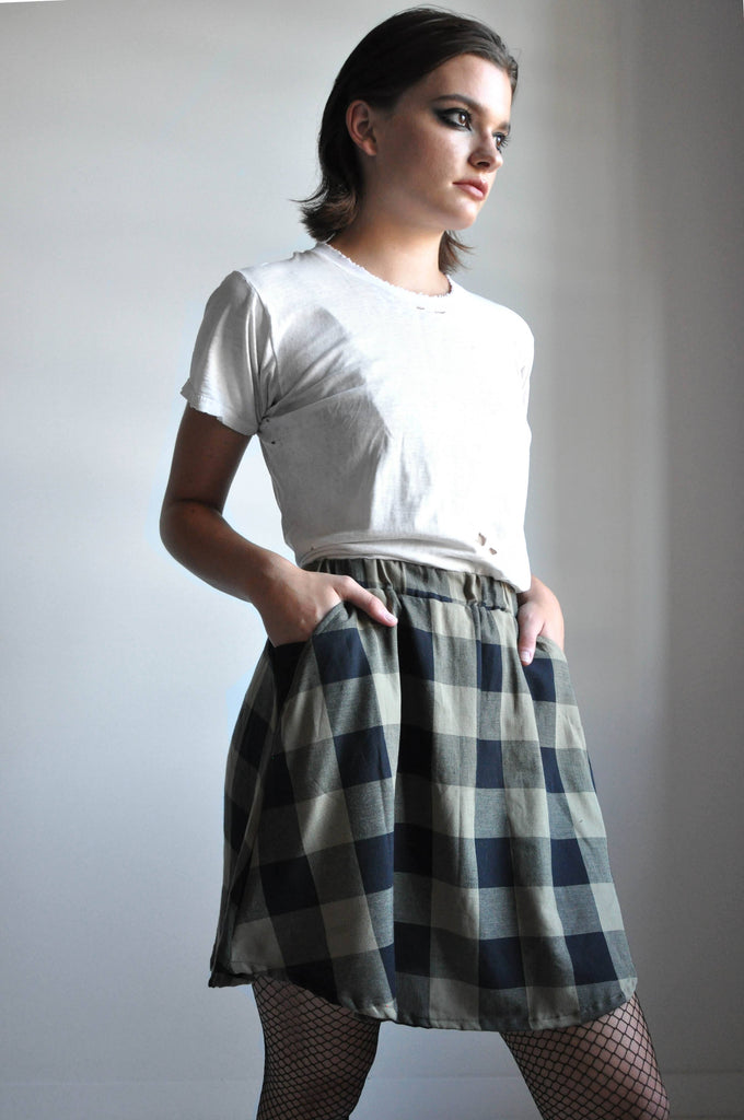 LINEN MINI SKIRT - PLAID [LIMITED]