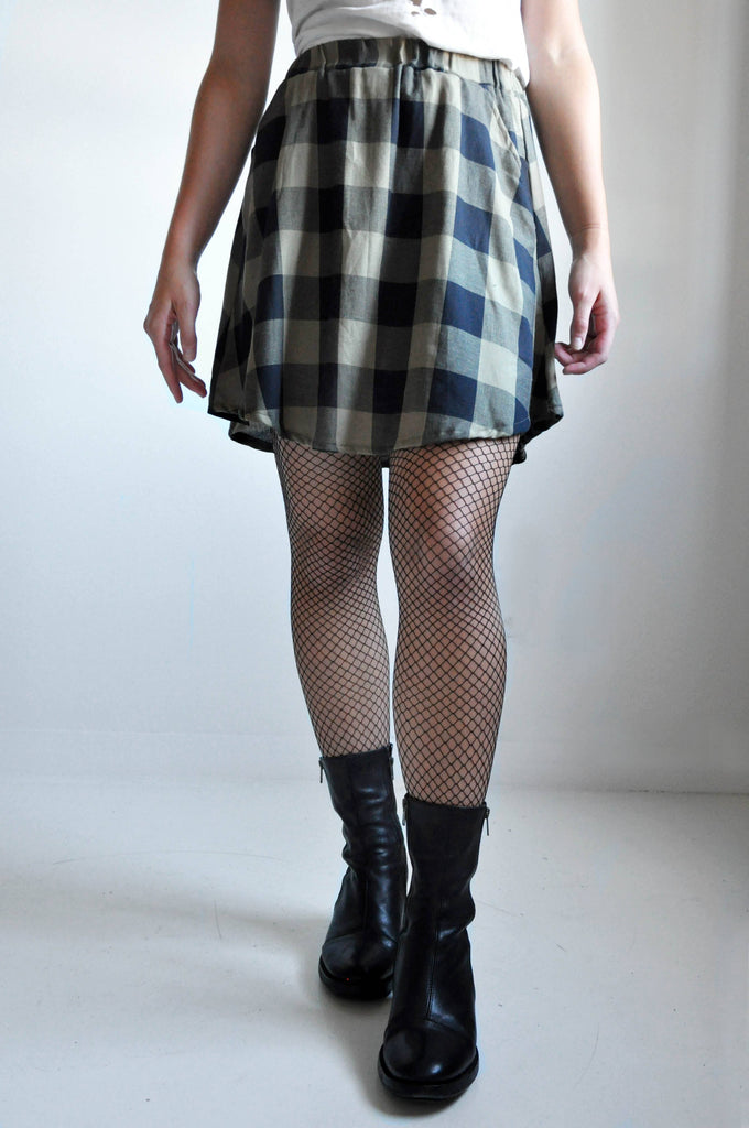 LINEN MINI SKIRT - PLAID [LIMITED] (4039325745224)