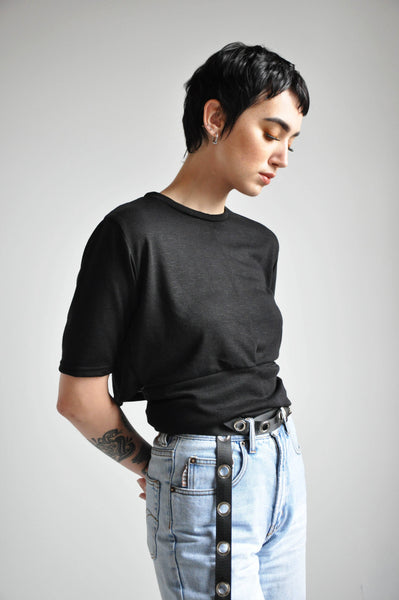 CROP WRAP TEE - BLACK - NOCTEX - BUY NOW PAY LATER