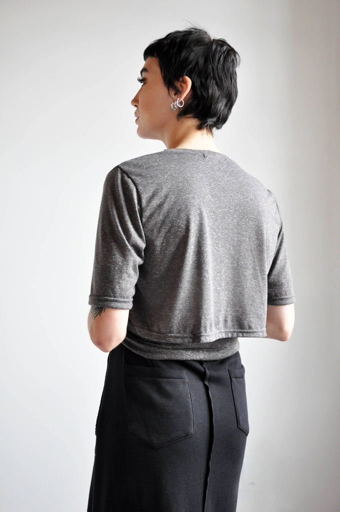 CROP WRAP TEE - GREY - NOCTEX - BUY NOW PAY LATER (4256839925832)