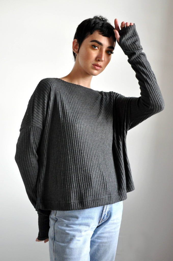 Crop Sweater - Grey Fleece Rib [LIMITED]