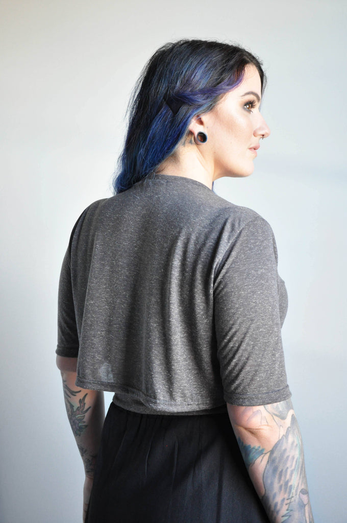 CROP WRAP TEE - GREY - NOCTEX - BUY NOW PAY LATER