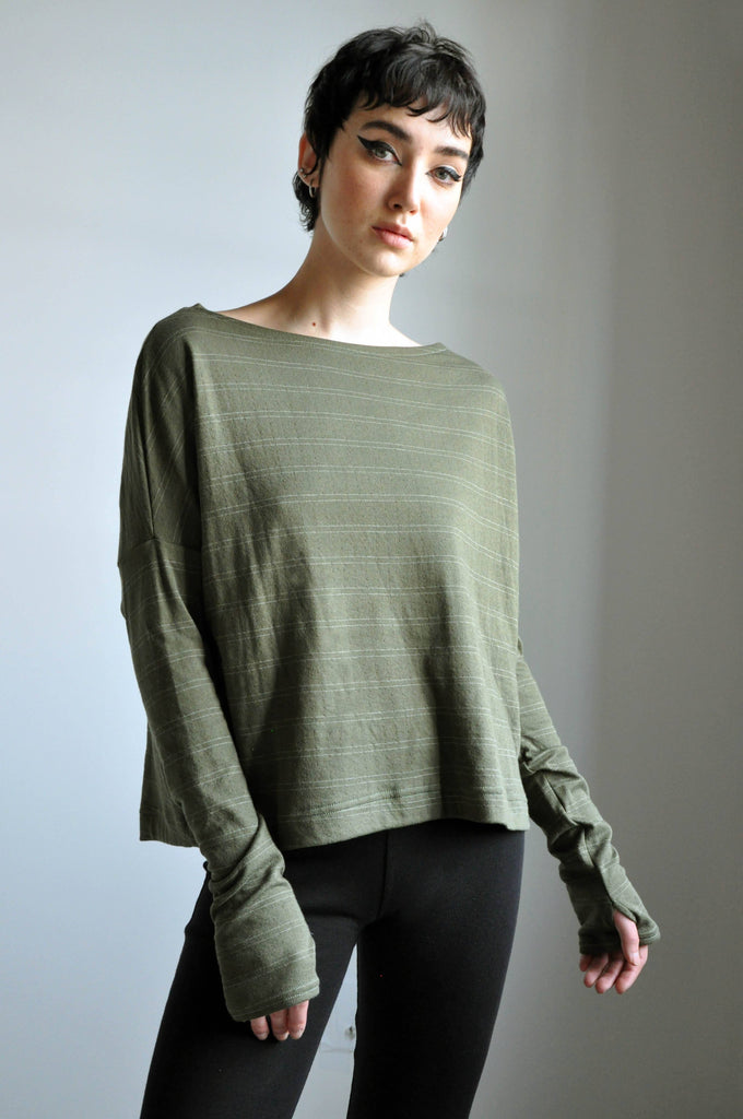 Crop Sweater - Moss Pinstripe [LIMITED]