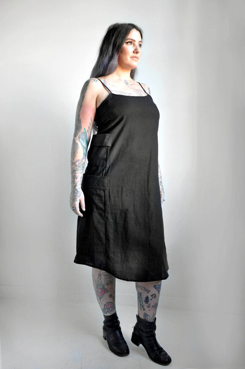 CARGO DRESS - BLACK LINEN - NOCTEX - BUY NOW PAY LATER