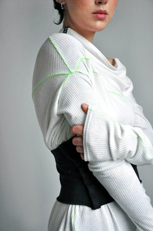 Splice Longsleeve - WHITE+CIRCUIT GREEN - NOCTEX - BUY NOW PAY LATER (4431779758152)