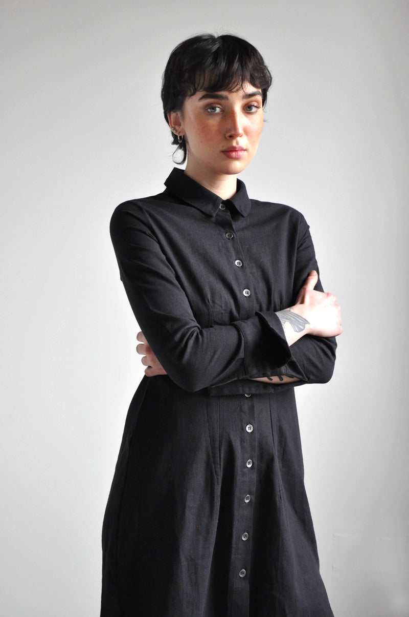 WYNONA LINEN DRESS - BLACK - NOCTEX - BUY NOW PAY LATER