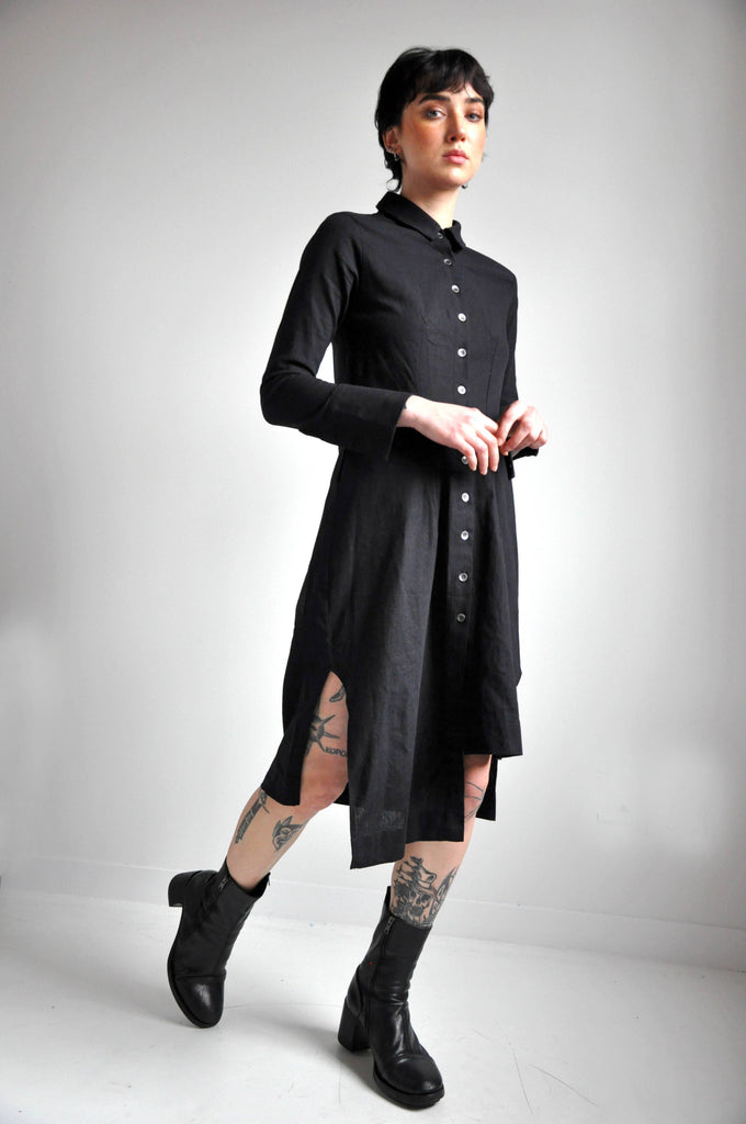 WYNONA LINEN DRESS - BLACK (4299583848520)
