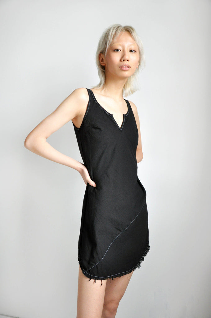 BIAS MINI DRESS - BLACK LINEN - NOCTEX - BUY NOW PAY LATER (5372830908572)