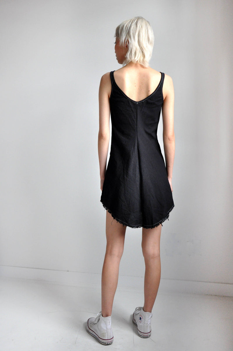 BIAS MINI DRESS - BLACK LINEN - NOCTEX - BUY NOW PAY LATER