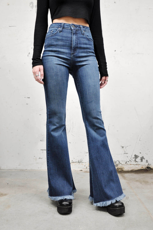 High Rise Blue Bell Bottom Jeans - NOCTEX - BUY NOW PAY LATER (6084745724099)