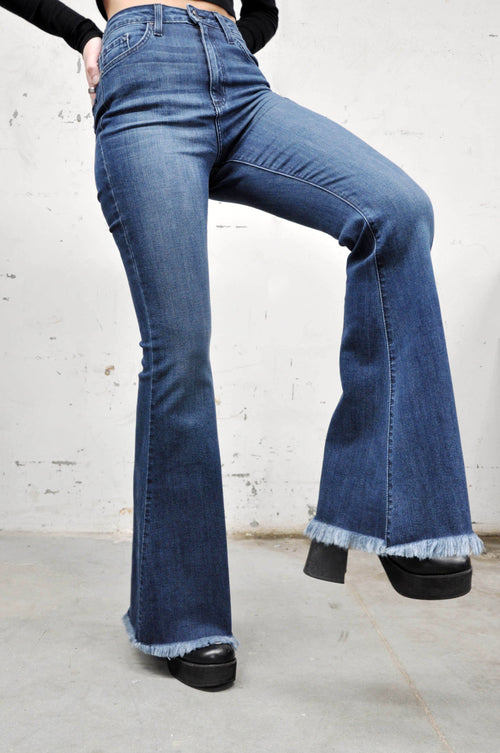 High Rise Blue Bell Bottom Jeans - Shop Noctex