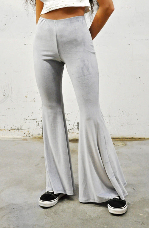 Velvet High Rise Flares - GREY - Shop Noctex