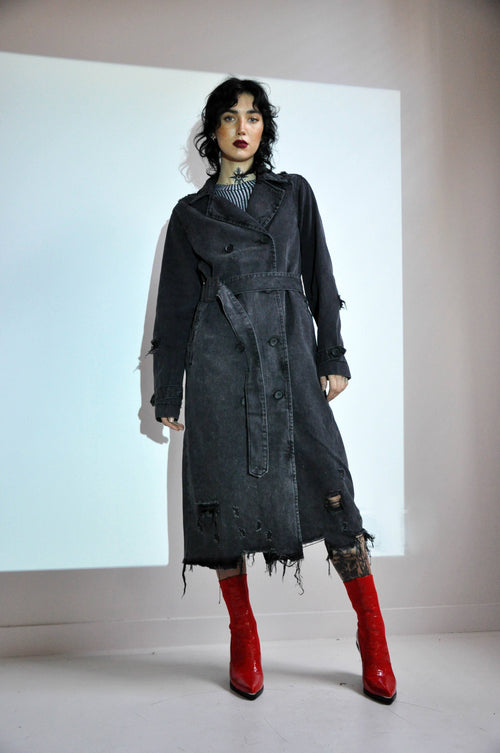 DISTRESSED DENIM TRENCH COAT - Shop Noctex