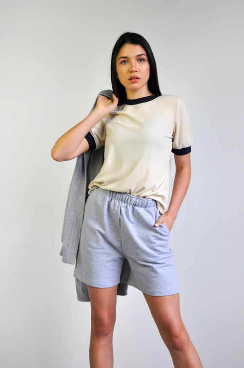 Easy French Terry Sweat Shorts - Heather Grey (6083184296131)