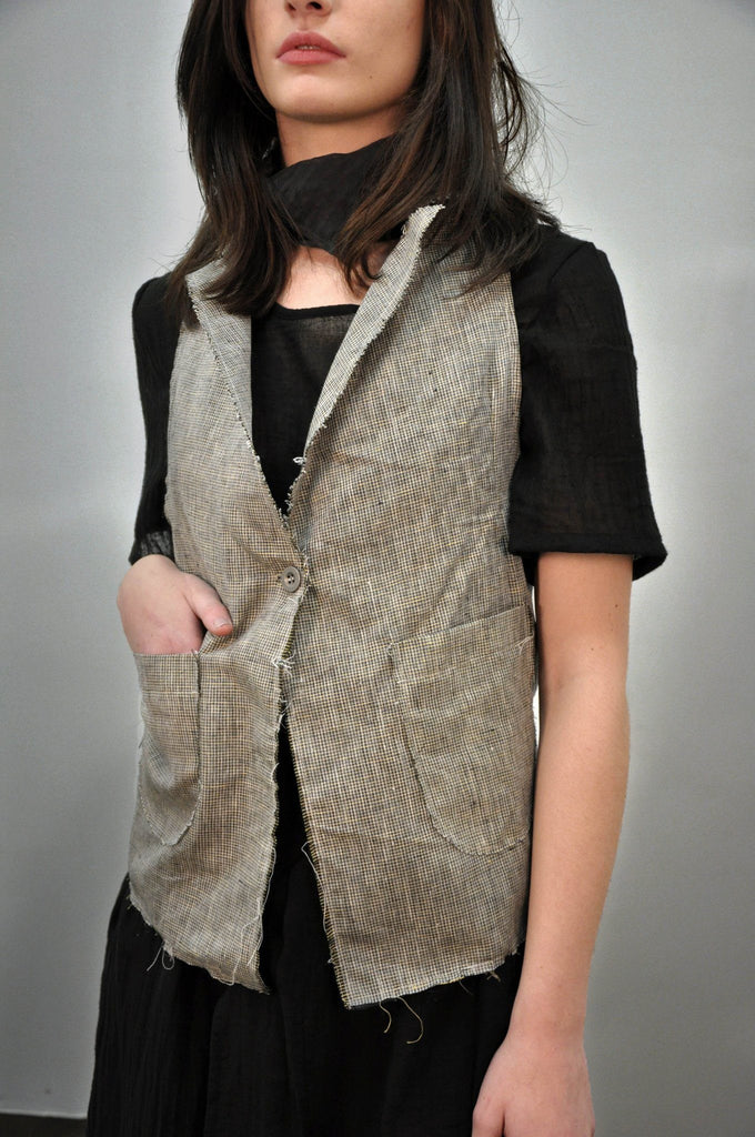 Waistcoat - Linen Micro Plaid (LAST SIZES) - NOCTEX - BUY NOW PAY LATER