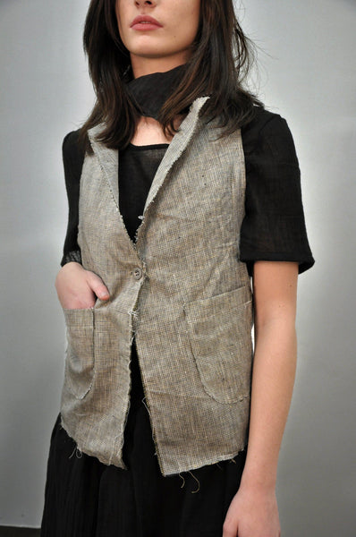 Waistcoat - Linen Micro Plaid (LAST SIZES)