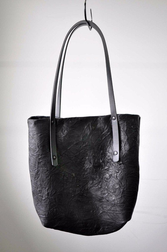 Crinkle Leather Tote Bag