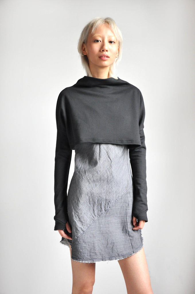 MEL CROP SWEATER - CHARCOAL
