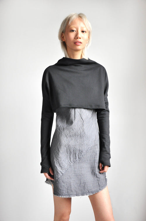 MEL CROP SWEATER - CHARCOAL - Shop Noctex