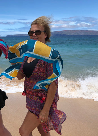 Hand painted scarf at beach