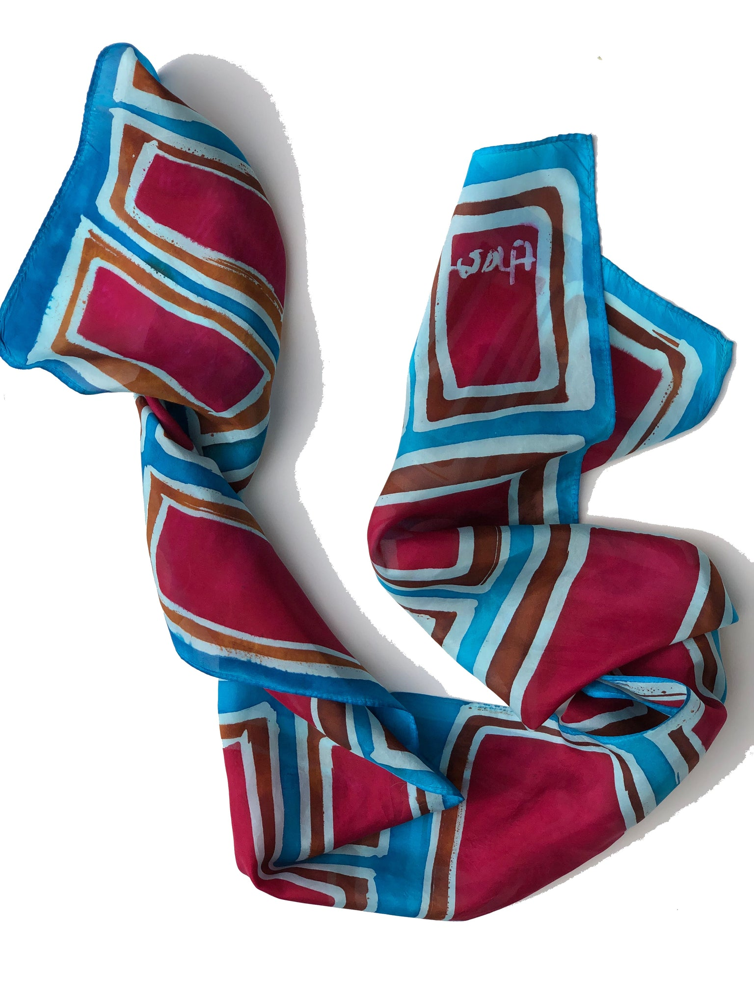 turquoise handpainted scarf with magenta and burnt sienna design