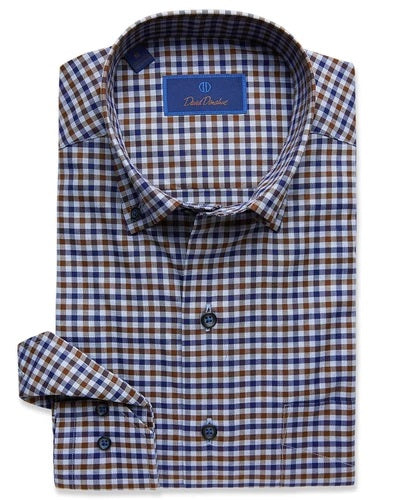 DAVID DONAHUE - (CMCBD2617491) - Sport Shirt - (Navy/Chocolate)