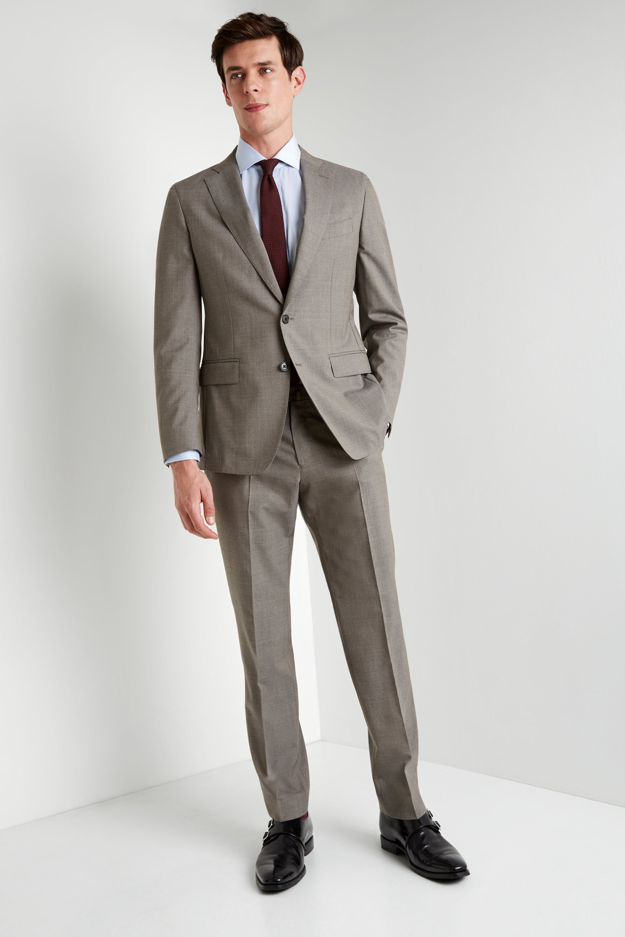 Maxman Prive Tan Sharkskin Suit