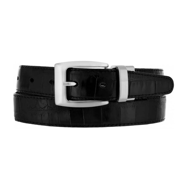 BRIGHTON - (30090) Reversible Croco Belt (Black/Peanut)