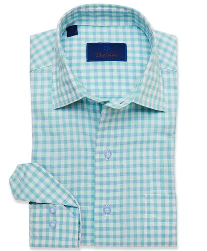 DAVID DONAHUE - (3638132) - Green Oversized Gingham Blend Sport Shirt - (Green)